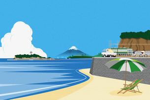 海と江ノ島と富士山 イラストのイラスト素材 [FYI01977766]