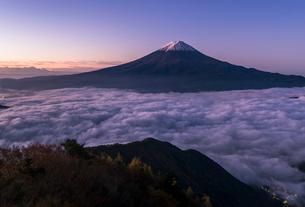 夜明けの富士山と雲海の写真素材 [FYI01977887]