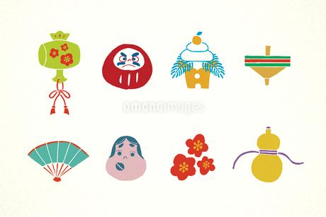だるまや鏡餅の正月アイテム イラストのイラスト素材 [FYI01977951]
