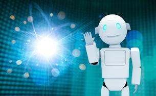 手をあげるロボットと光 CGのイラスト素材 [FYI01978505]