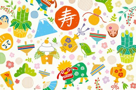 獅子舞や鏡餅の正月アイテム イラストのイラスト素材 [FYI01979019]
