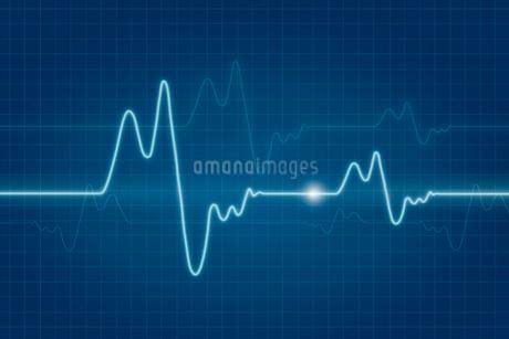 波形と格子模様 CGの写真素材 [FYI01979021]