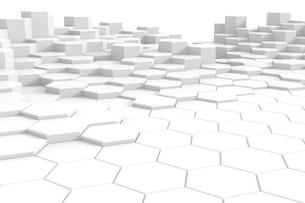 並ぶ六角形の立体 CGのイラスト素材 [FYI01979253]