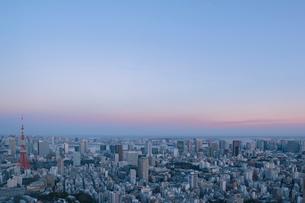 東京タワーと都心の街並みの夕景の写真素材 [FYI01979615]