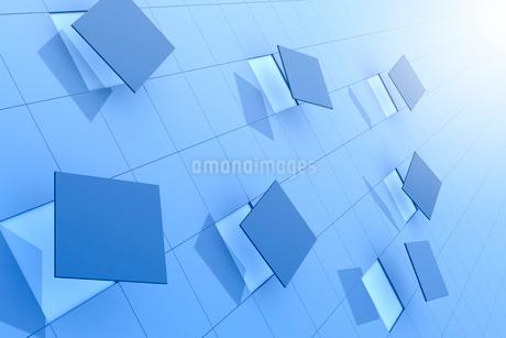 格子模様と浮かぶ四角形 3DCGのイラスト素材 [FYI01979651]