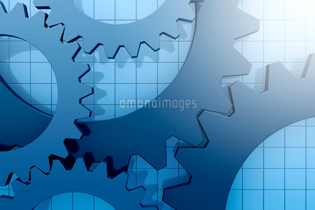 重なる歯車と格子模様 3DCGのイラスト素材 [FYI01980206]