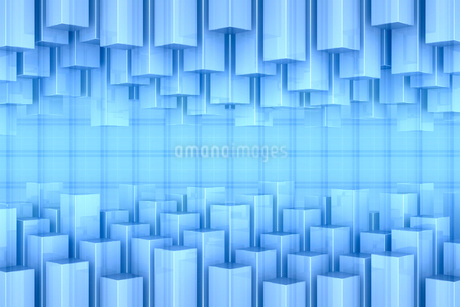 四角柱の集合と格子模様 CGのイラスト素材 [FYI01980261]
