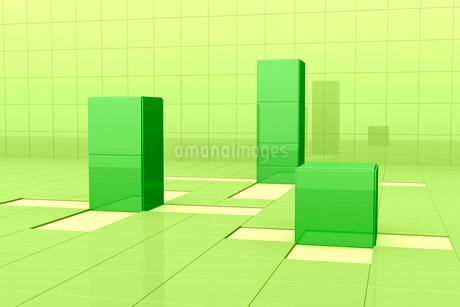 格子模様と立体の四角形 3DCGのイラスト素材 [FYI01980655]