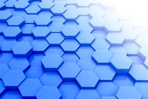 一面の立体的な六角形と光 CGのイラスト素材 [FYI01980686]