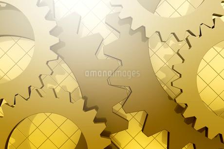 重なる歯車と格子模様 3DCGのイラスト素材 [FYI01980804]