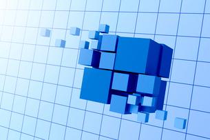 浮かぶ立方体と格子模様 3DCGのイラスト素材 [FYI01981042]