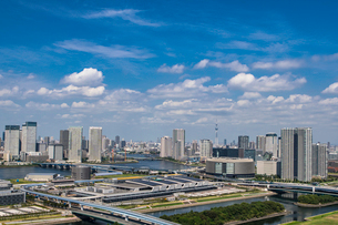 豊洲市場と豊洲、晴海周辺のビル群と青空の写真素材 [FYI01981301]
