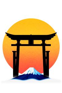 富士山と鳥居 イラストのイラスト素材 [FYI01981387]