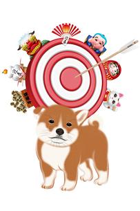子犬とお正月飾りに囲まれた的 イラストのイラスト素材 [FYI01981388]