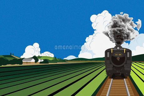 田園風景の中を走るSL イラストのイラスト素材 [FYI01981793]