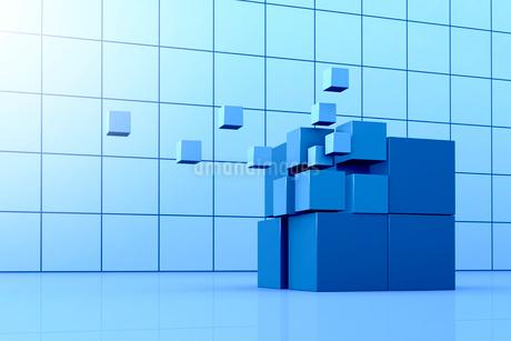浮かび上がる立方体と格子模様 3DCGのイラスト素材 [FYI01981989]