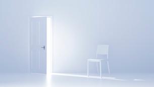 開いた扉と白い椅子 CGのイラスト素材 [FYI01982095]