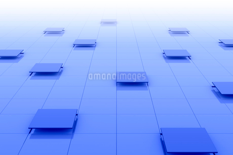 格子模様と立体的な四角形 3DCGのイラスト素材 [FYI01982185]