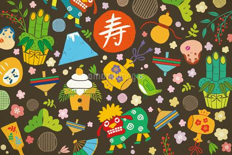 獅子舞や鏡餅の正月アイテム イラストのイラスト素材 [FYI01982240]