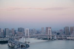 レインボーブリッジと東京湾とビル群 早朝の写真素材 [FYI01982247]