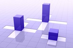 格子模様と立体の四角形 3DCGのイラスト素材 [FYI01982354]