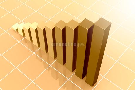 棒グラフと格子模様 3DCGのイラスト素材 [FYI01982371]