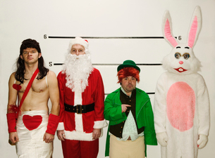 Holiday mascots in police lineupの写真素材 [FYI01982635]