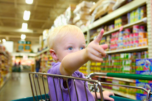 Boy pointing at something in groceryの写真素材 [FYI01984141]