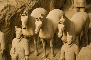 Terracotta horses and soldiersの写真素材 [FYI01985921]