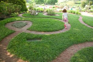 Young girl running around backyardの写真素材 [FYI01986698]