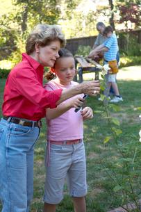 Grandmother and granddaughter gardeningの写真素材 [FYI01988440]