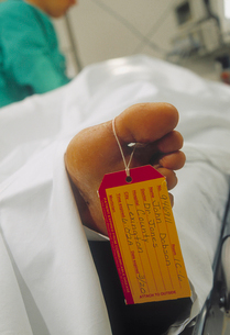 Close up of toe tag on patientの写真素材 [FYI01988525]