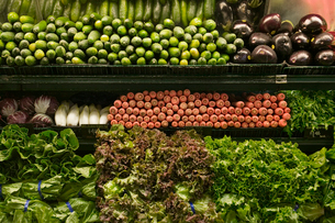 Vegetables for sale in grocery storeの写真素材 [FYI01988839]