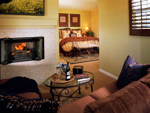 Elegant Master Bedroom with Fireplaceの写真素材 [FYI01989717]