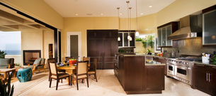 Panoramic of Kitchen and Dining Roomの写真素材 [FYI01989811]