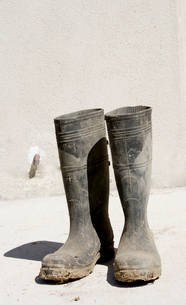 Pair of rubber boots outdoorsの写真素材 [FYI01989926]