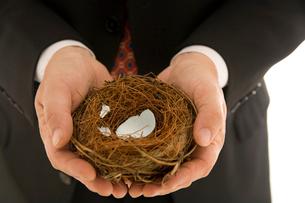 Man holding bird's nest with broken eggの写真素材 [FYI01990481]