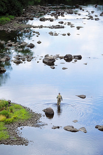 Fly fisherman wading in riverの写真素材 [FYI01990789]