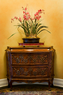 Ornate Dresser with Pink Flowersの写真素材 [FYI01991780]