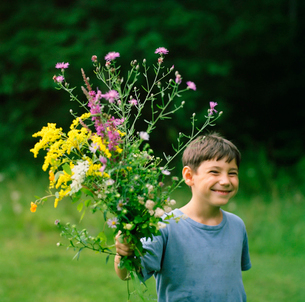 Boy in field with bouquet of wildflowersの写真素材 [FYI01992368]