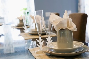 Place settings at dinner tableの写真素材 [FYI01992531]