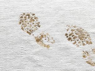 Dirty footprints on white carpetの写真素材 [FYI01993789]