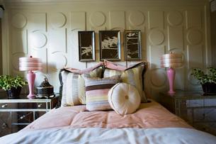 Feminie Bedroom with Stripesの写真素材 [FYI01993855]