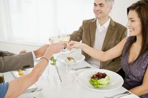 Couples toasting at restaurantの写真素材 [FYI01994355]