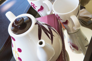 Contemporary Teapot with Purple Flowersの写真素材 [FYI01994684]