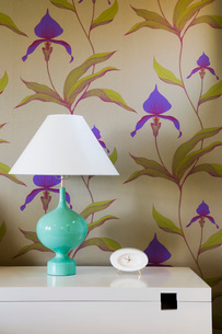 Lamp and Clock against Wallpaperの写真素材 [FYI01994833]