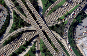 High angle view of highwaysの写真素材 [FYI01995028]
