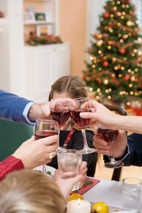 Family toasting at Christmas dinnerの写真素材 [FYI01995482]