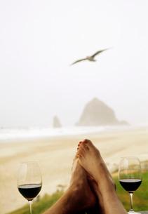Couple drinking wine on beachの写真素材 [FYI01995575]