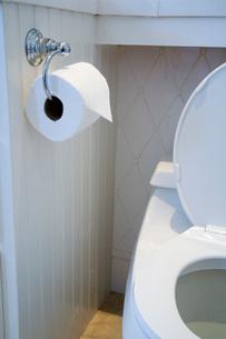 Toilet Paper Next to Open Toiletの写真素材 [FYI01995719]